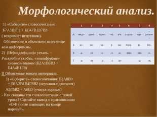 Морфологический анализ. 1) «Соберите» словосочетание: Б7А3В5Г2 + Б1А7В1В7В3 (