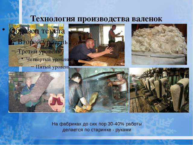 Технология производства валенок На фабриках до сих пор 30-40% работы делается...