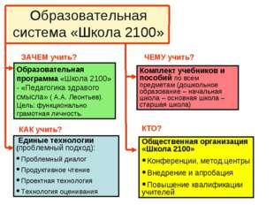 Образовательная система «Школа 2100» Образовательная программа «Школа 2100» -