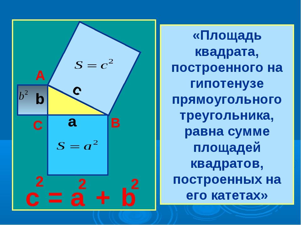 «Площадь квадрата, построенного на гипотенузе прямоугольного треугольника, ра...
