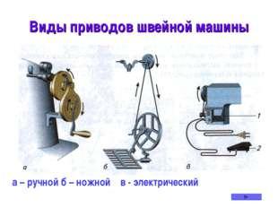 Виды приводов швейной машины а – ручной б – ножной в - электрический