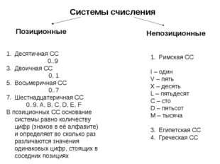Системы счисления Непозиционные Позиционные Десятичная СС 0..9 Двоичная СС 0,