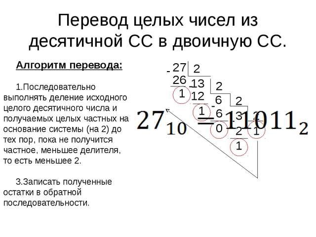 6 2 3 0 12 - 6 2 26 13 2 Перевод целых чисел из десятичной СС в двоичную СС....