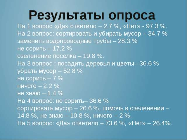 Результаты опроса На 1 вопрос «Да» ответило – 2.7 %, «Нет» - 97,3 %. На 2 воп...