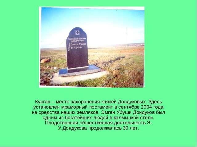 Курган – место захоронения князей Дондуковых. Здесь установлен мраморный пост...