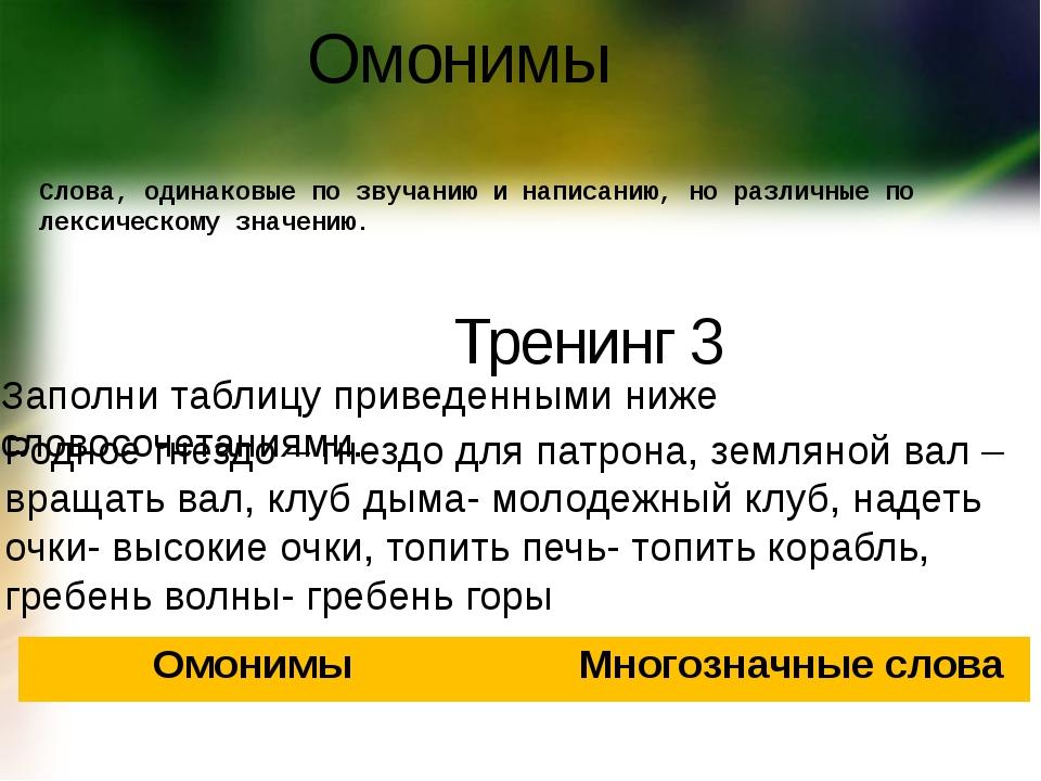 Омонимы Слова, одинаковые по звучанию и написанию, но различные по лексическо...