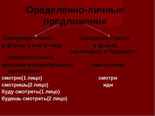 Оределённо-личные предложения Сказуемое-глагол Сказуемое-глагол в форме 1 ил