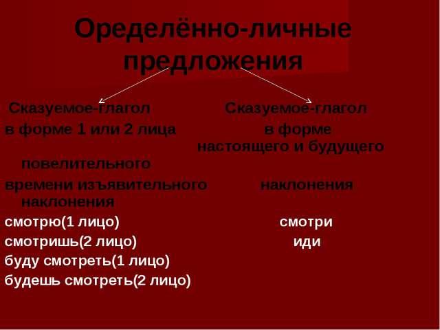 Оределённо-личные предложения Сказуемое-глагол Сказуемое-глагол в форме 1 ил...