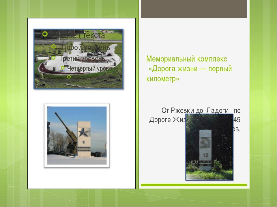 Мемориальный комплекс «Дорога жизни — первый километр» От Ржевки до Ладоги по...