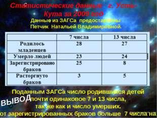 С Поданным ЗАГСа число родившихся детей почти одинаковое 7 и 13 числа, так же