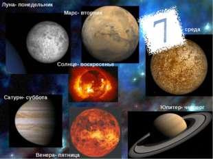Луна- понедельник Марс- вторник Меркурий- среда Юпитер- четверг Венера- пятни