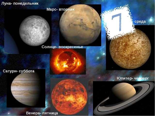 Луна- понедельник Марс- вторник Меркурий- среда Юпитер- четверг Венера- пятни...