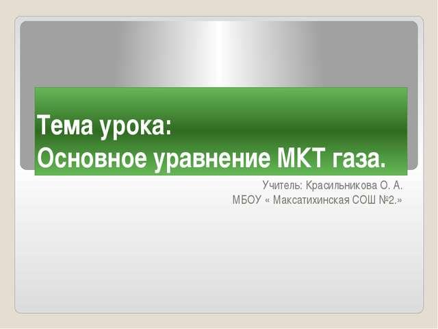Тема урока: Основное уравнение МКТ газа. Учитель: Красильникова О. А. МБОУ «...
