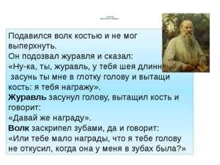 Л Толстой Басня «Волк и Журавль» Подавился волк костью и не мог выперхнуть.