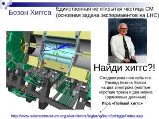 Найди хиггс?! Смоделированное событие: Распад бозона Хигсса на два электрона