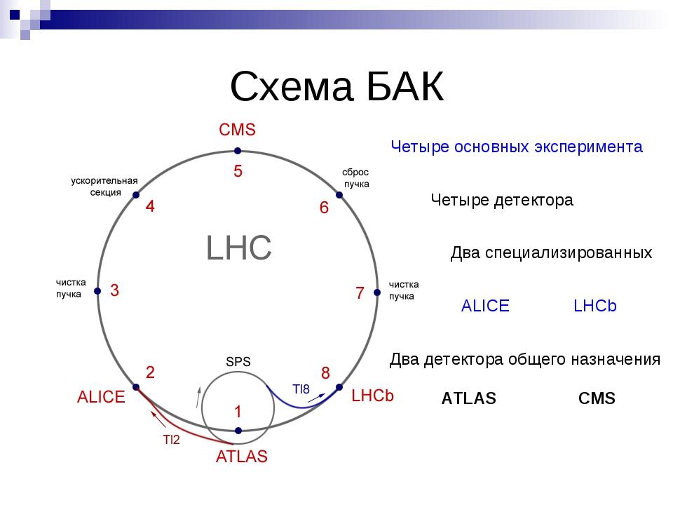 Схема БАК Четыре основных эксперимента Четыре детектора Два специализированны...