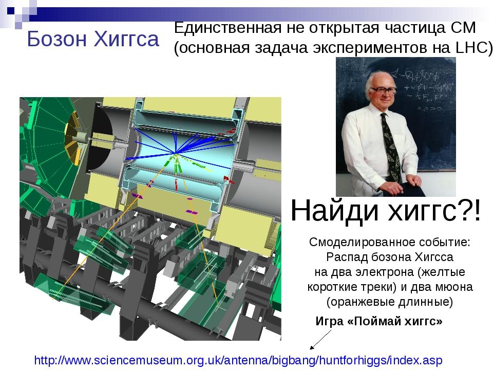 Найди хиггс?! Смоделированное событие: Распад бозона Хигсса на два электрона...