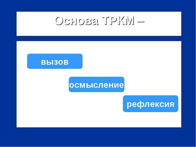 Основа ТРКМ – трехфазная структура урока: вызов осмысление рефлексия