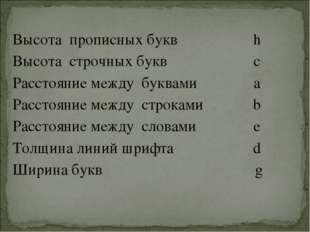 Высота прописных буквh Высота строчных буквc Расстояние между буквамиa Рас