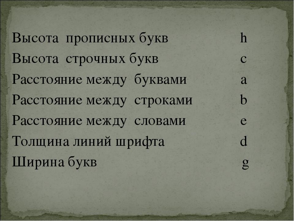Высота прописных буквh Высота строчных буквc Расстояние между буквамиa Рас...