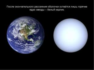 После окончательного рассеяния оболочки остаётся лишь горячее ядро звезды – б