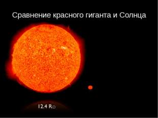 Сравнение красного гиганта и Солнца