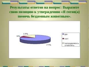 Результаты ответов на вопрос: Выразите свою позицию к утверждению «Я готов(а)