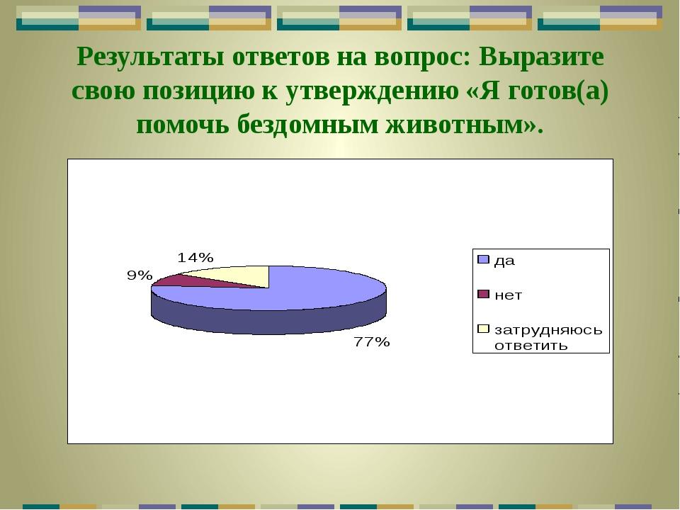 Результаты ответов на вопрос: Выразите свою позицию к утверждению «Я готов(а)...