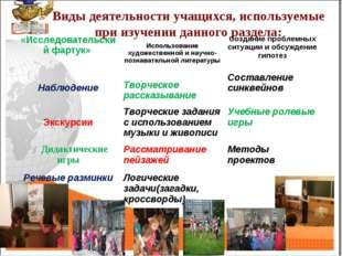 Виды деятельности учащихся, используемые при изучении данного раздела: «Иссле
