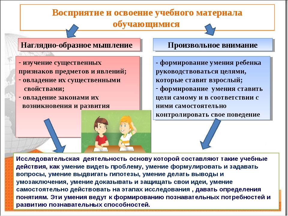 Восприятие и освоение учебного материала обучающимися Наглядно-образное мышле...