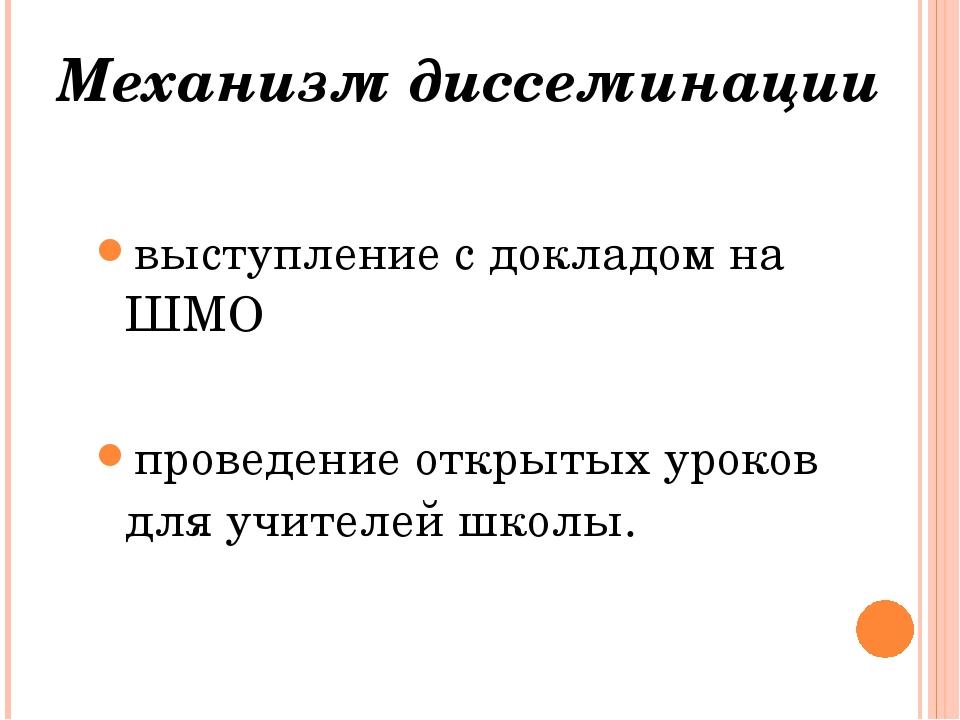 Механизм диссеминации выступление с докладом на ШМО проведение открытых уроко...