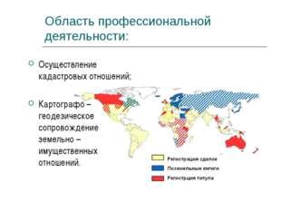 Область профессиональной деятельности: Осуществление кадастровых отношений; К
