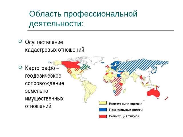 Область профессиональной деятельности: Осуществление кадастровых отношений; К...