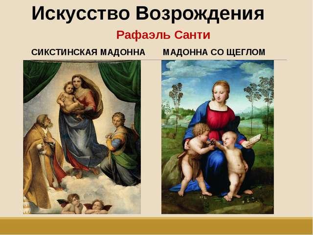 Искусство Возрождения Рафаэль Санти СИКСТИНСКАЯ МАДОННА МАДОННА СО ЩЕГЛОМ