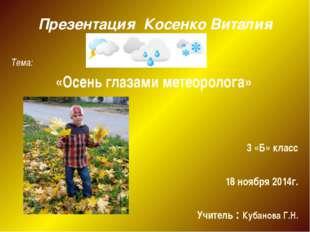 Тема: «Осень глазами метеоролога» 3 «Б» класс 18 ноября 2014г. Учитель : Куб