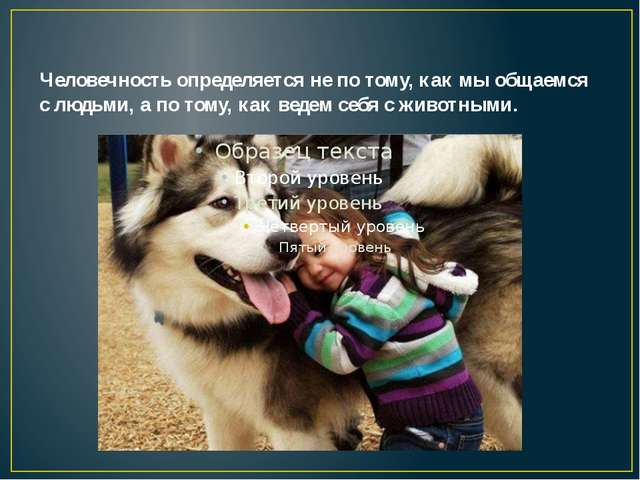 Человечность определяется не по тому, как мы общаемся с людьми, а по тому, к...