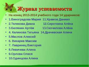 Журнал успеваемости На конец 2013-2014 учебного года 14 ударников: 1.Виноград
