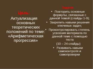 Цель: Актуализация основных теоретических положений по теме: «Арифметическая