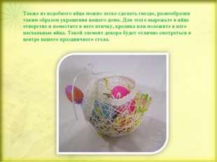 Также из подобного яйца можно легко сделать гнездо, разнообразив таким образо