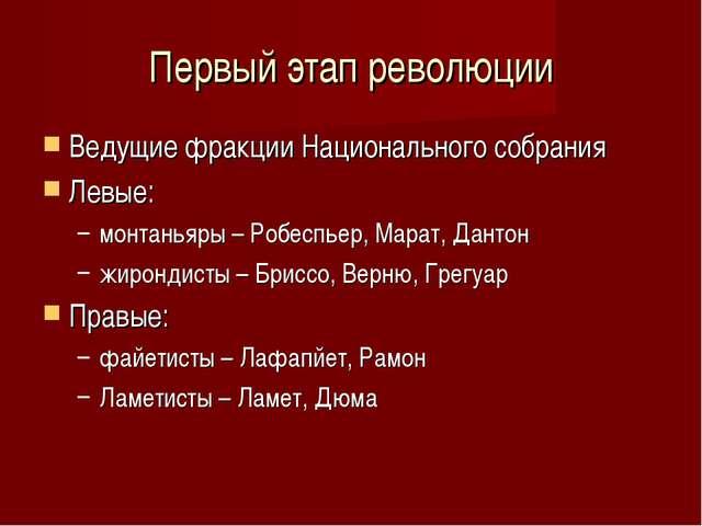 Первый этап революции Ведущие фракции Национального собрания Левые: монтаньяр...