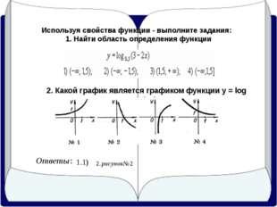 Используя свойства функции - выполните задания: 1. Найти область определения