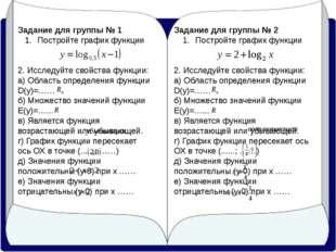 Задание для группы № 1 Постройте график функции 2. Исследуйте свойства функци