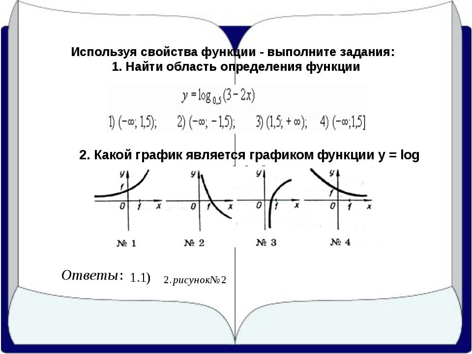 Используя свойства функции - выполните задания: 1. Найти область определения...