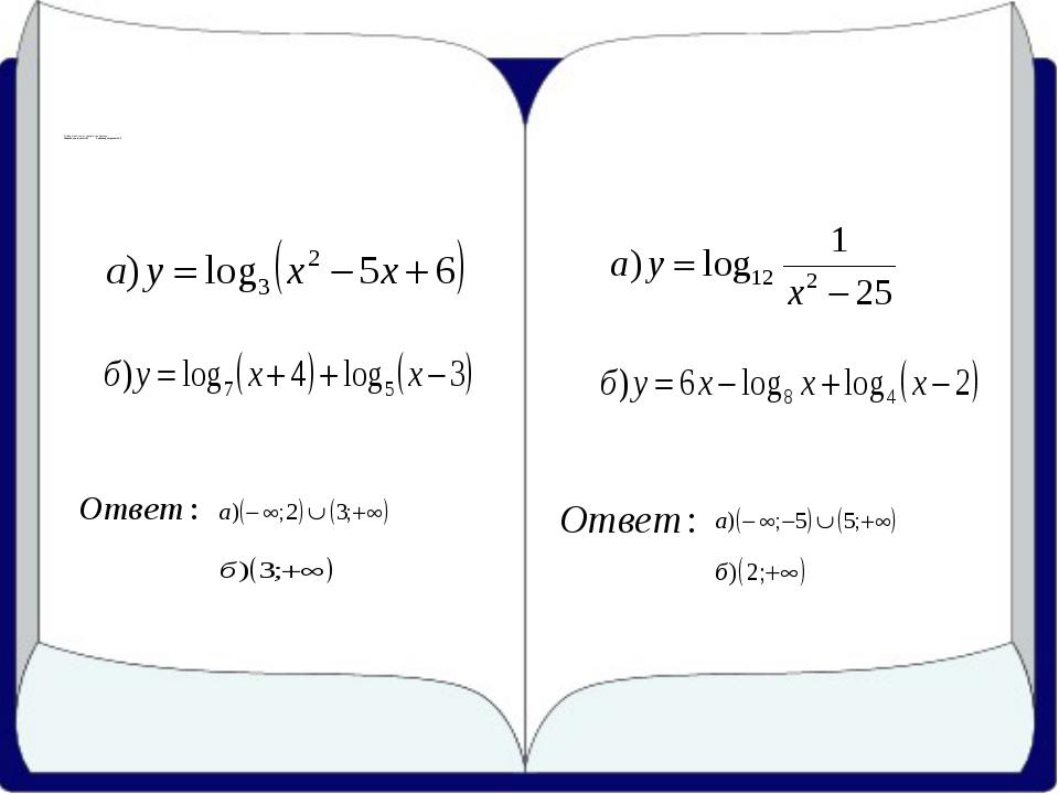 3) Найдите область определения функции: Задание для группы № 1 Задание для г...