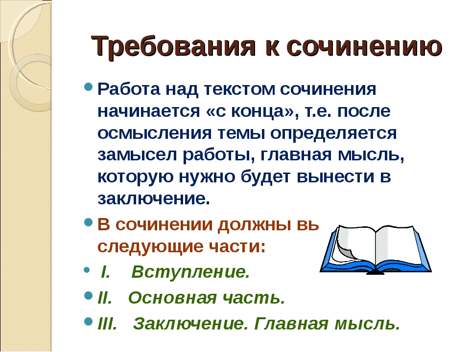 Требования к сочинению Работа над текстом сочинения начинается «с конца», т.е...