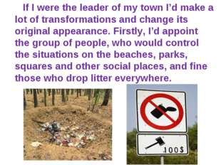 If I were the leader of my town I'd make a lot of transformations and change