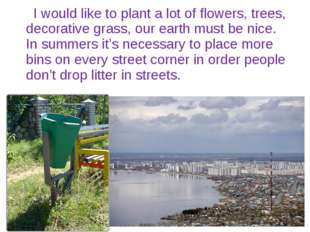 I would like to plant a lot of flowers, trees, decorative grass, our earth m