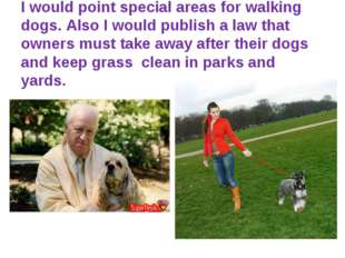 I would point special areas for walking dogs. Also I would publish a law tha