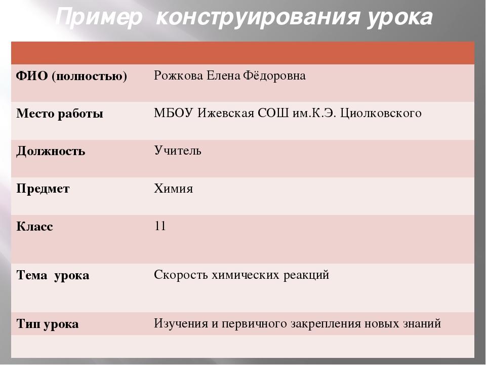 Пример конструирования урока ФИО (полностью) Рожкова Елена Фёдоровна Место ра...