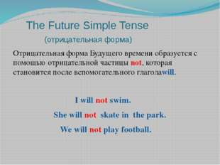 The Future Simple Tense (отрицательная форма) Отрицательная форма Будущего в